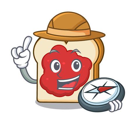 Explorer bread with jam mascot cartoon vector illustration Ilustração