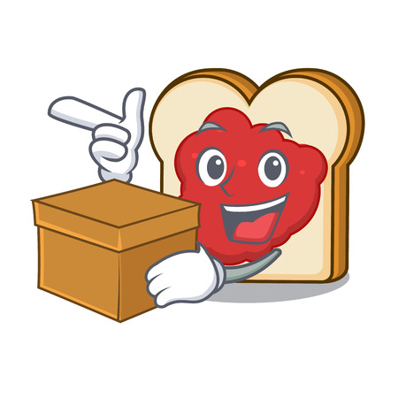 With box bread with jam character cartoon vector illustration