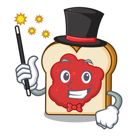 Magician bread with jam mascot cartoon vector illustration