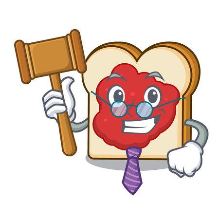 Judge bread with jam mascot cartoon vector illustration