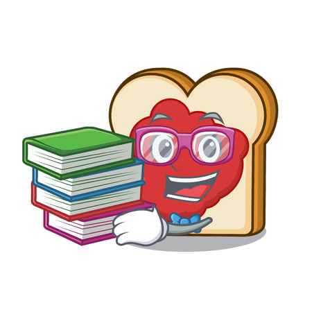 Student with book bread with jam mascot cartoon vector illustration