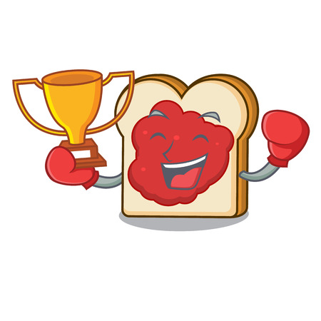 Boxing winner bread with jam mascot cartoon vector illustration