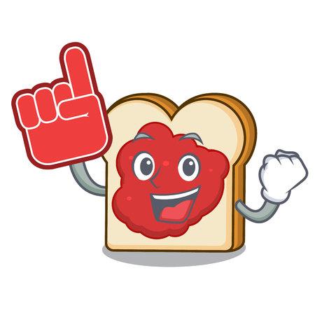 Foam finger bread with jam mascot cartoon vector illustration Ilustração