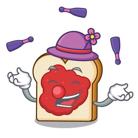 Juggling bread with jam mascot cartoon vector illustration