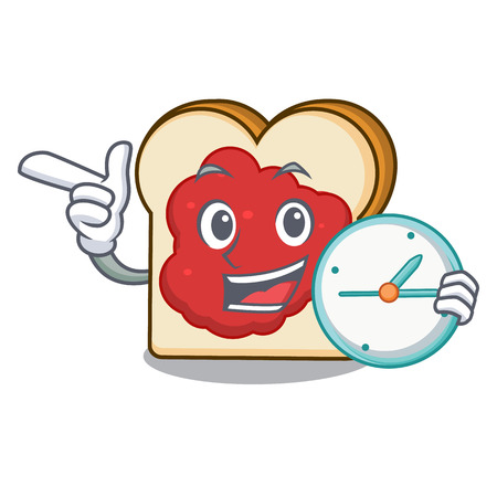 With clock bread with jam character cartoon vector illustration