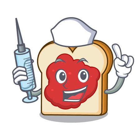 Nurse bread with jam character cartoon vector illustration