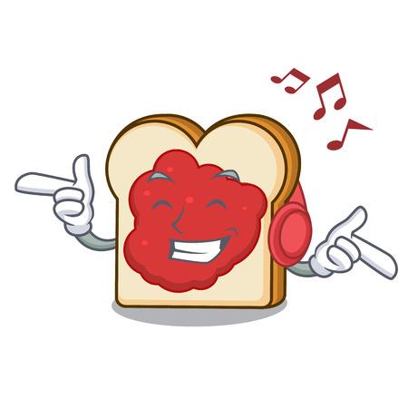 Listening music bread with jam mascot cartoon vector illustration