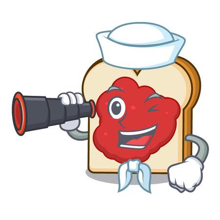 Sailor with binocular bread with jam mascot cartoon vector illustration