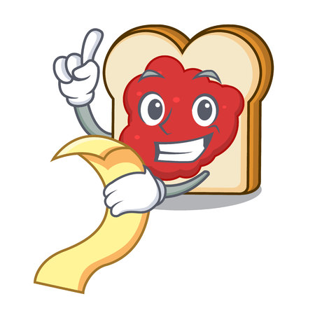 With menu bread with jam mascot cartoon vector illustration