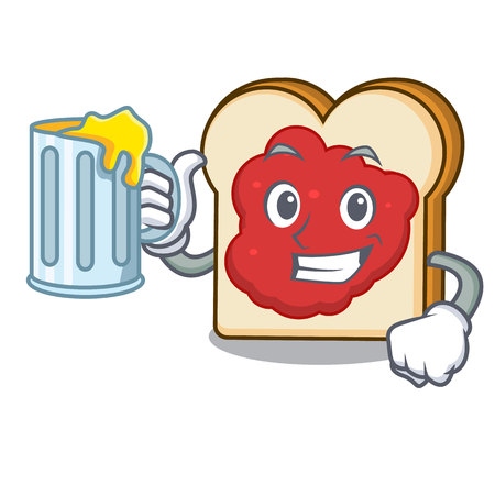 With juice bread with jam mascot cartoon vector illustration
