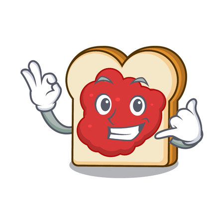 Call me bread with jam mascot cartoon vector illustration