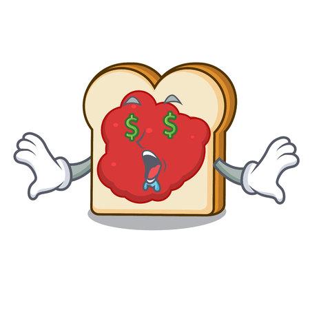 Money eye bread with jam mascot cartoon vector illustration