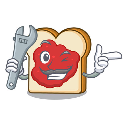 Mechanic bread with jam mascot cartoon vector illustration Vettoriali