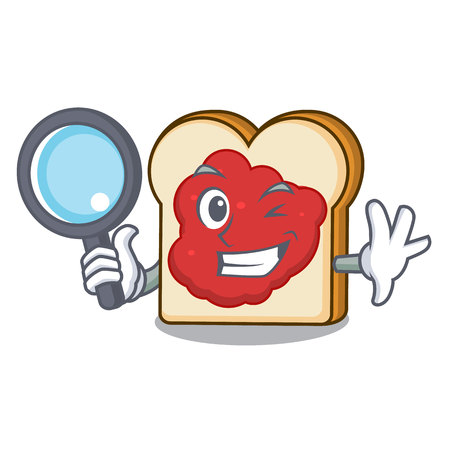 Detective bread with jam character cartoon vector illustration