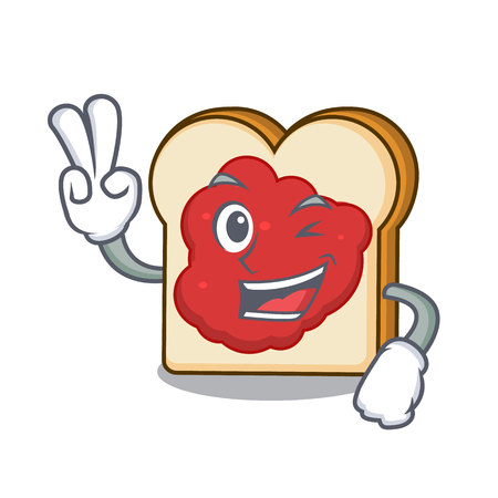 Two finger bread with jam character cartoon vector illustration