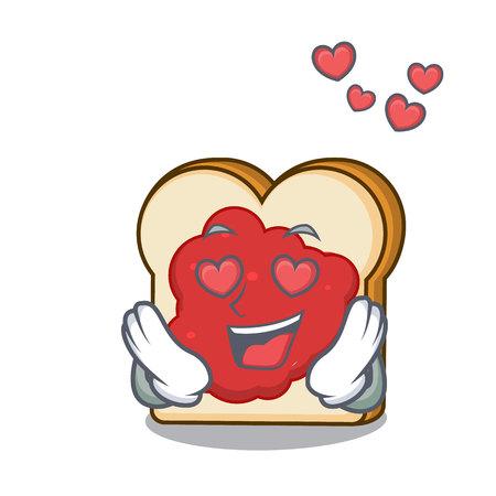 In love bread with jam mascot cartoon vector illustration Ilustração