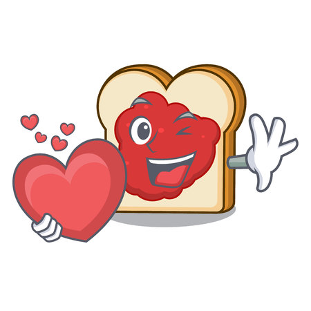 With heart bread with jam mascot cartoon vector illustration