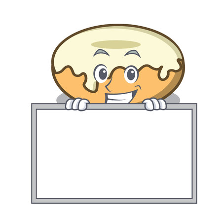 Grinning with board donut with sugar character cartoon vector illustration