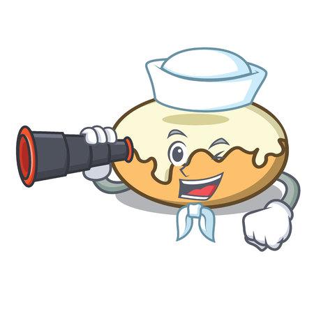 Sailor with binocular donut with sugar mascot cartoon