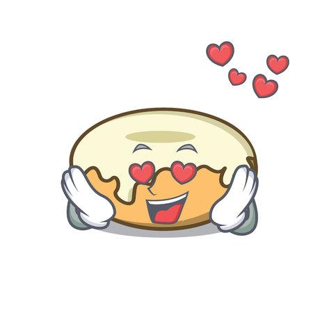 In love donut with sugar mascot cartoon