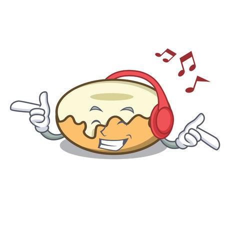 Listening music donut with sugar mascot cartoon