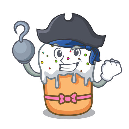 Pirate easter cake character cartoon Vectores