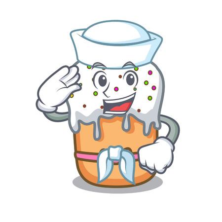Sailor easter cake character cartoon Illustration
