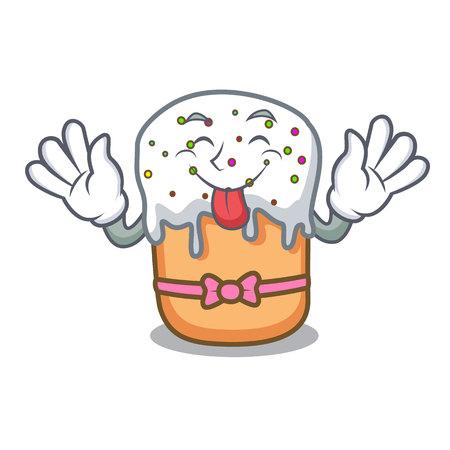 Tongue out easter cake mascot cartoon vector illustration