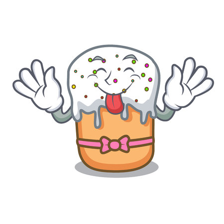 Tongue out easter cake mascot cartoon vector illustration