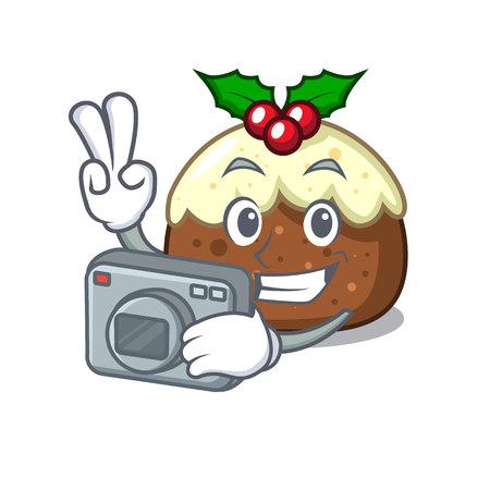 Photographer fruit cake mascot cartoon