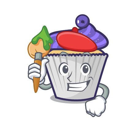 Artist blueberry cupcake character cartoon vector illustration Stock Illustratie