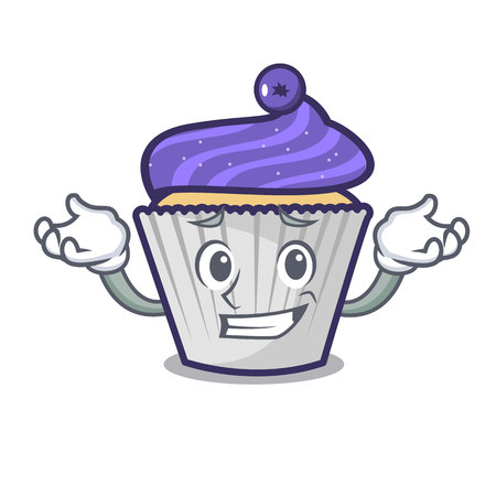 Grinning blueberry cupcake character cartoon vector illustration Ilustração