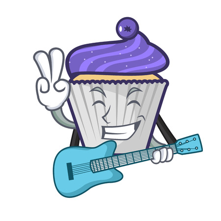 With guitar blueberry cupcake mascot cartoon vector illustration Stock Illustratie