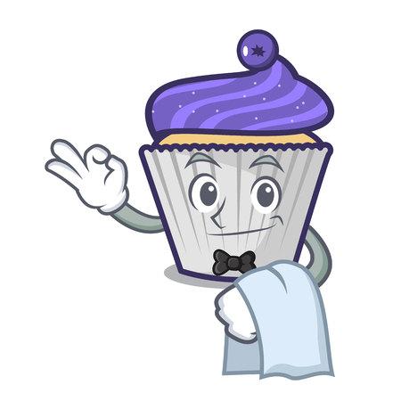 Waiter blueberry cupcake mascot cartoon vector illustration Illustration