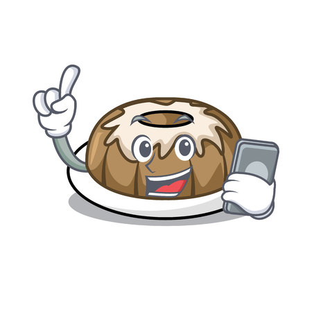 With phone bundt cake character cartoon vector illustration