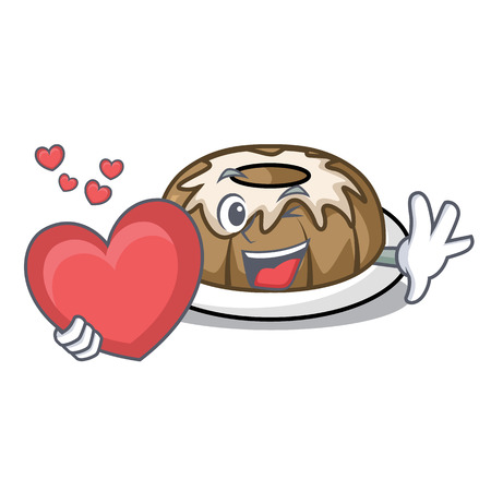 With heart bundt cake mascot cartoon vector illustration