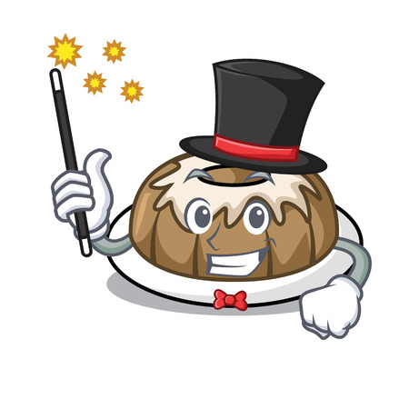 Magician bundt cake mascot cartoon vector illustration