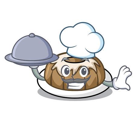 Chef with food bundt cake mascot cartoon vector illustration Illustration