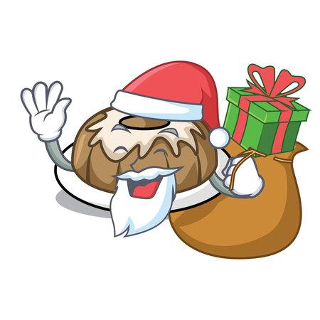 Santa with gift bundt cake mascot cartoon vector illustration Illustration