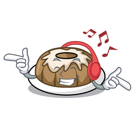Listening music bundt cake mascot cartoon vector illustration