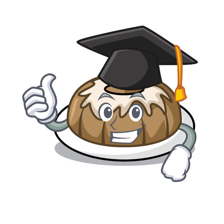 Graduation bundt cake character cartoon vector illustration Çizim