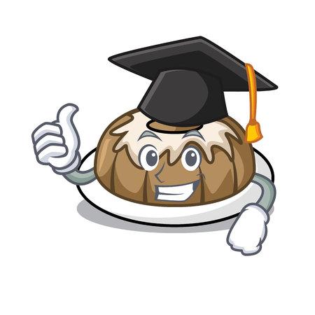 Graduation bundt cake character cartoon vector illustration Illustration