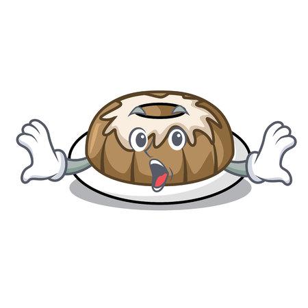 Surprised bundt cake mascot cartoon vector illustration