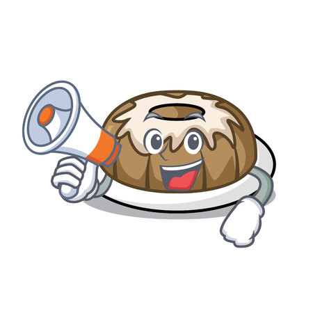 With megaphone bundt cake character cartoon vector illustration