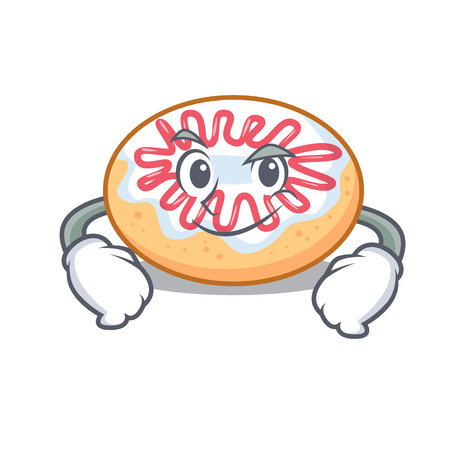 Smirking jelly donut character cartoon vector illustration