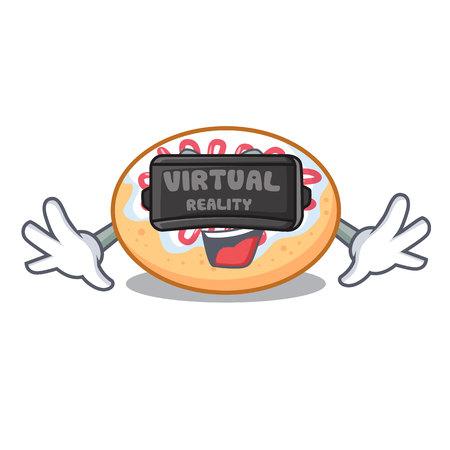Virtual reality jelly donut mascot cartoon vector illustration Illustration