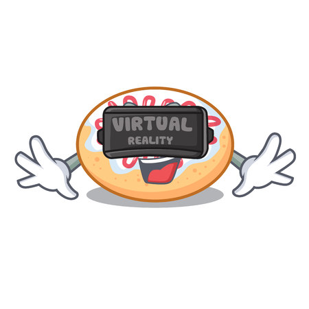 Virtual reality jelly donut mascot cartoon vector illustration 矢量图像
