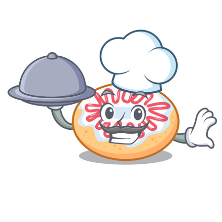 Chef with food jelly donut mascot cartoon vector illustration
