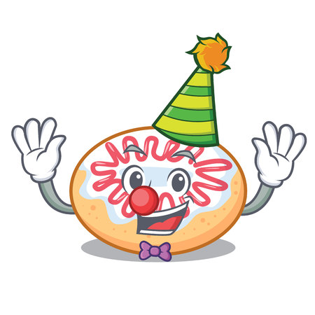 Clown jelly donut mascot cartoon vector illustration