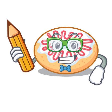 Student jelly donut character cartoon vector illustration